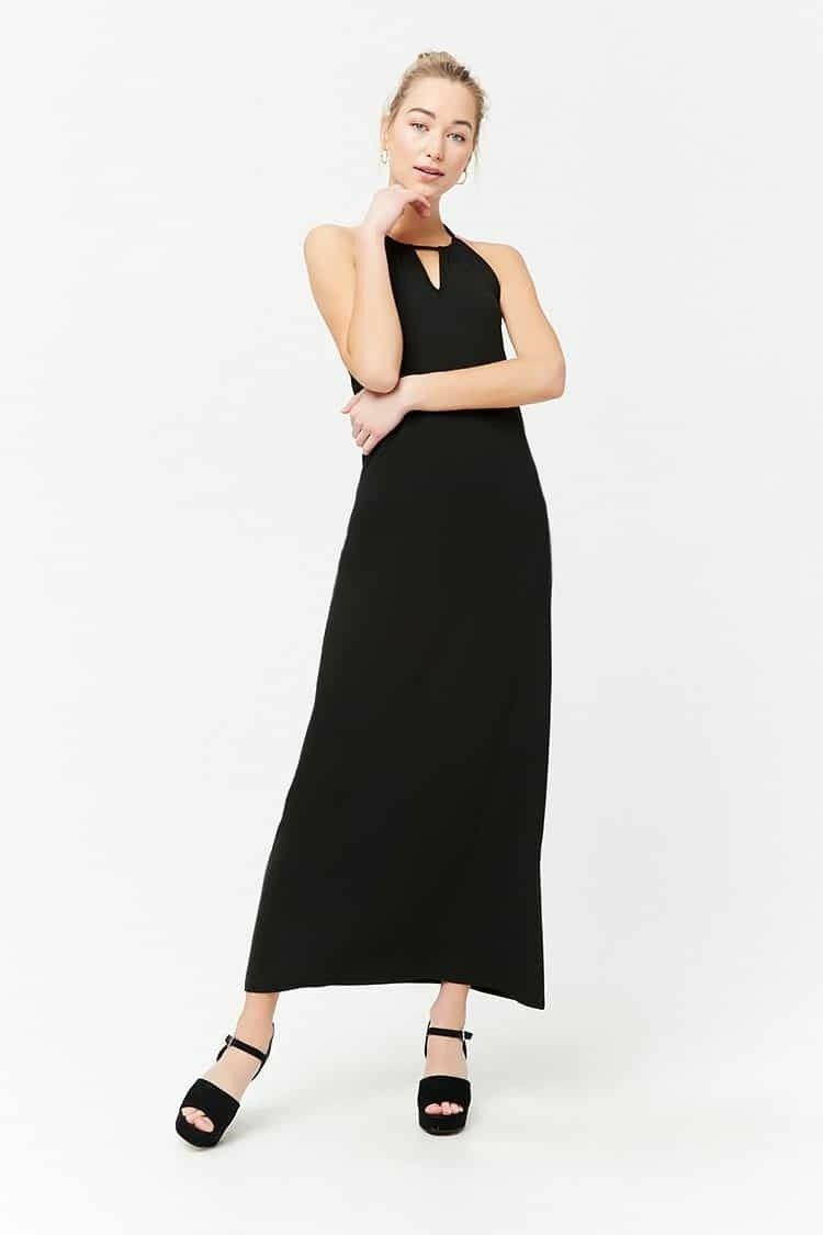 Black Halter Maxi Dress Small Stretch Sleeveless Side Slit Elastic Back Jump NWT