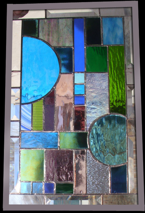 Stained Glass Window Panel Abstract Geometric quilt Blue Green Purple Turquoise