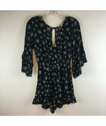 American Eagle Outfitter Women's Black Floral V-Neck Romper Size Small - $13.49