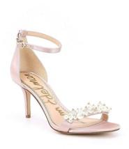 Sam Edelman Platt Pearl Detail Pink Satin Heels Ankle Strap Shoes Size 9 M - $59.39