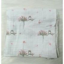 Aden + Anais Pink Dot Cherry Blossom Tree Owl Bird Muslin Blanket Baby B80 - $22.99