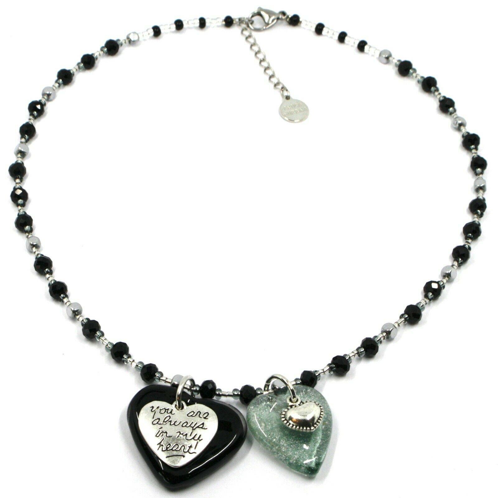 Necklace Antica Murrina Venezia, COB60A14, Double Heart Glass Black Pendant