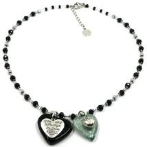 Necklace Antica Murrina Venezia, COB60A14, Double Heart Glass Black Pendant image 1