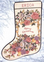 Candamar Victorian Christmas Roses Fruit  Ribbon Cross Stitch Stocking Kit 50823 - $42.95