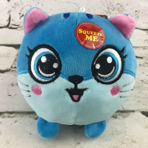Fluffy Friends Squeezable Kitty Cat Plush Blue Round Stuffed Toy By Stress Gear - $14.84