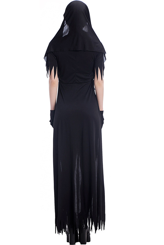 Halloween Night Party Nun Cosplay Costume with Tassels