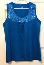 Sequined Knit Tank Top Sleeveless by Jennifer Lauren Blue Size L - $9.89