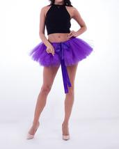 WOMEN MINI TUTU Skirt Drawstring Waist Solid Color Mini Petticoats Ballet Skirts image 3