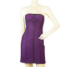 BCBG Max Azria Purple Draped Tulle Black Silk Trim Strapless Mini Dress ... - $143.55