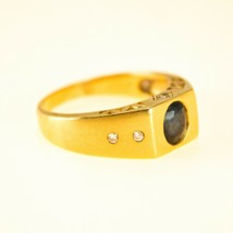 Vintage 18k Gold Mens Sapphire Ring with Diamonds UK size P BHS - $1,578.26