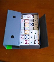 VINTAGE 55 Ivory Colored Dot Dominoes by Cardinal in Gray Vinyl Snapped Case - $39.59
