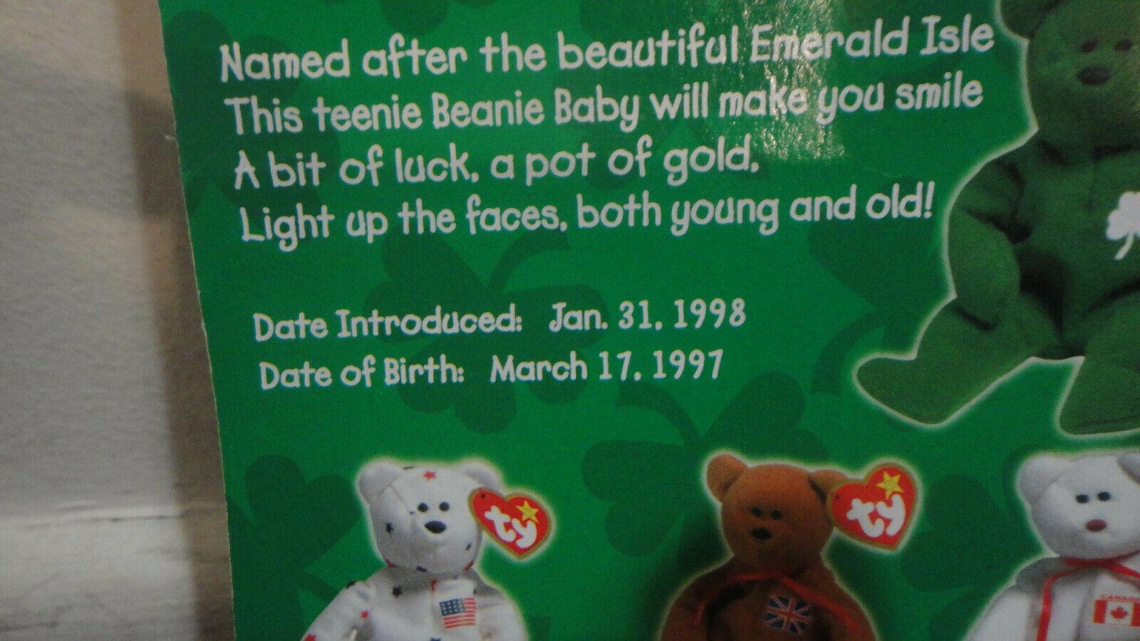 ERIN THE BEAR Ty Teenie Beanie Baby 1997 Mcdonalds Charity With TAG ERRORS