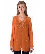 Indigo Paisley Aurora Womens Full Sleeve Tunic with Allover Embroidery L... - $25.94