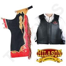 Hilason Bull Riding Pro Rodeo Black Leather Protective Vest & Chaps Combo U-00-L - $339.99