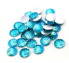 80pcs 12mm Round Blue Mermaid Resin Cabochon Flatback Craft Jewelry Making - $12.00