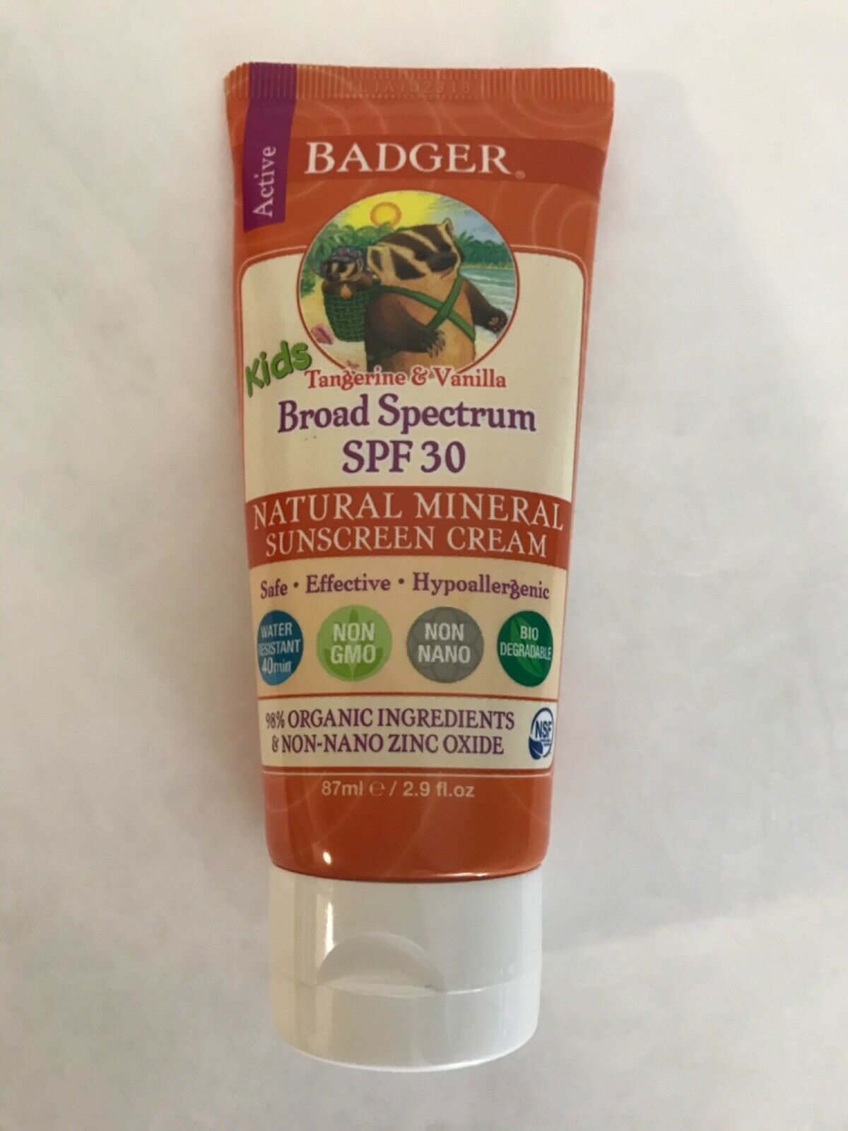 Primary image for Badger Active Kids Tangerine & Vanilla SPF 30 Natural Mineral Sunscreen Cream