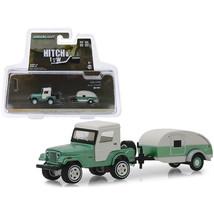 1972 Jeep CJ-5 Half-Cab and Teardrop Trailer Metallic Green and Cream Hi... - $24.53