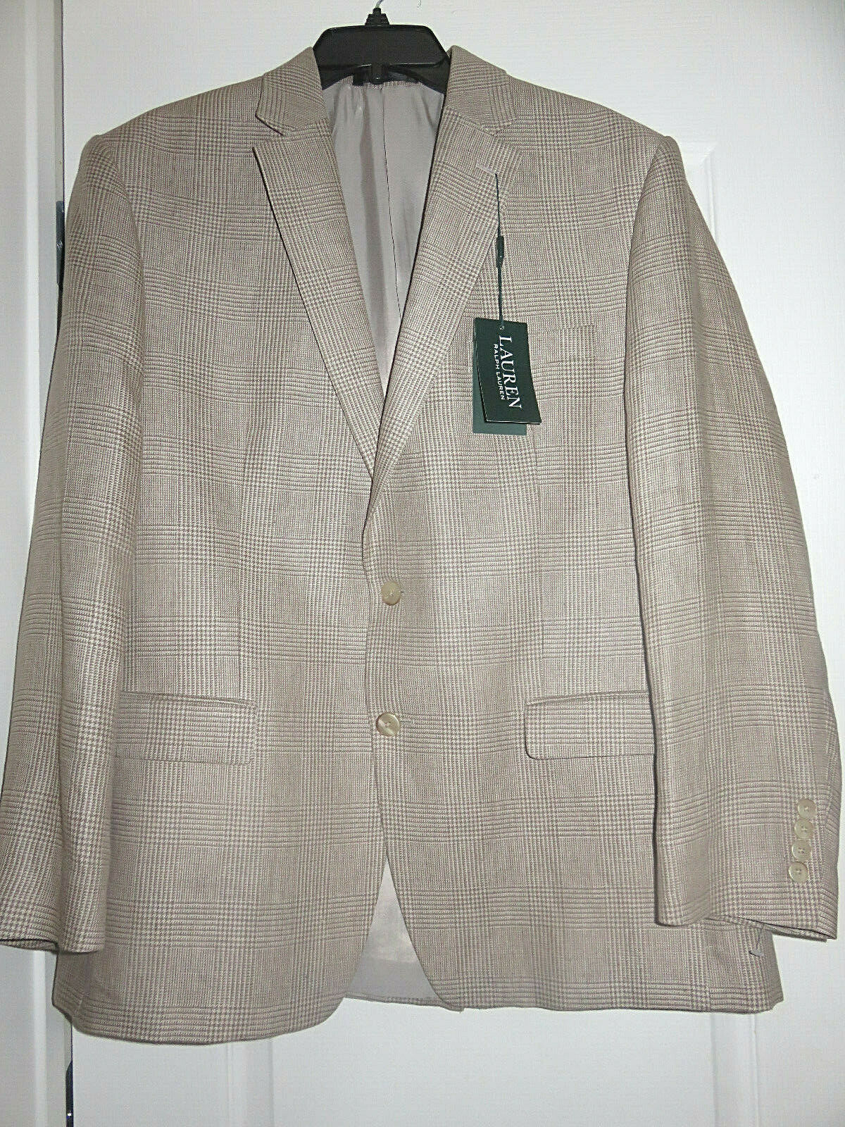 Primary image for RALPH LAUREN LELA MEN'S BEIGE YELLOW 100% LINEN SPORT JACKET 44 REG NEW