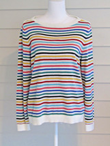 Talbots Multi Color Stripe Long Sleeve Cotton Blend Lightweight Sweater Size PL - $19.80