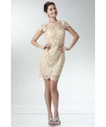 Elegant Chic Lace Lined Dress, Wedding Cocktail Club Party, Champagne Ivory - $117.83 CAD