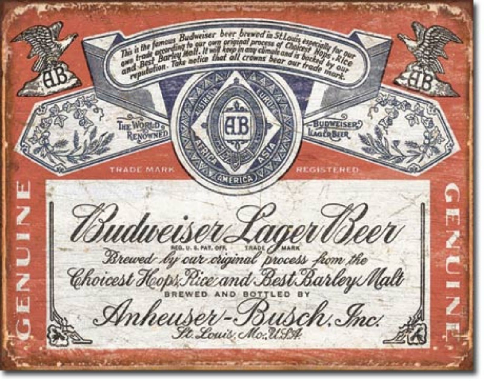 Budweiser Lager Beer Brew Label  Metal Sign Tin New Vintage Style USA #1751