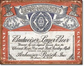 Budweiser Lager Beer Brew Label  Metal Sign Tin New Vintage Style USA #1751 - $10.29