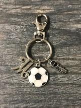 Personalized Soccer Keychain, Custom Initial Girls Soccer Player Jewelry... - $12.50