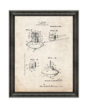Spinning Top Patent Print Old Look with Black Wood Frame - $24.95+