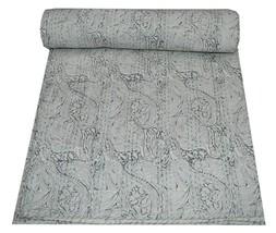 Hand Block Print Twin Cotton Kantha Quilt Throw Blanket Bedspread Indian... - £30.39 GBP