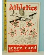 1941 Philadelphia Athletics ScoreCard  Indians Unscored Connie Mack BOMB... - $94.05
