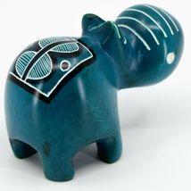 Crafts Caravan Kisii Soapstone Turquoise Hippopotamus Hippo Figurine Made Kenya image 4