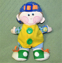 Dapper Dan 2001 Playskool Learn To Dress Cloth Boy Plush Doll Green Buttons Dog - $19.80