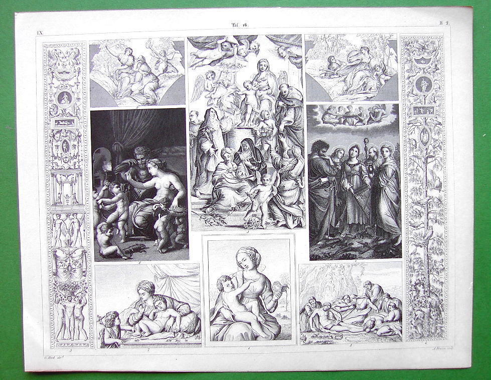 RENAISSANCE PAINTERS Raphael Caracci Works of Art - SUPERB Antique Print