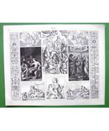 RENAISSANCE PAINTERS Raphael Caracci Works of Art - SUPERB Antique Print - $16.20