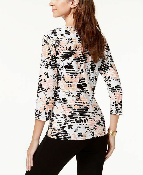 New $40 JM Collection Printed Jacquard Top Striping Floral Shirt Blouse Top XL