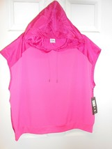 New AVIA color block Short Sleeve Hoodie Top sz XL 16/18 Active Wear - $12.86