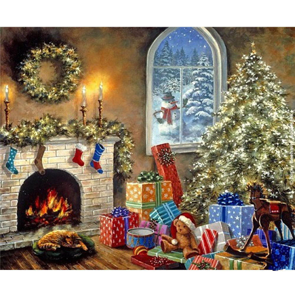 "Primary image for Chrismas Painting 16X20"" Paint By Number Kit DIY Acrylic Oil on Canvas Frameless"