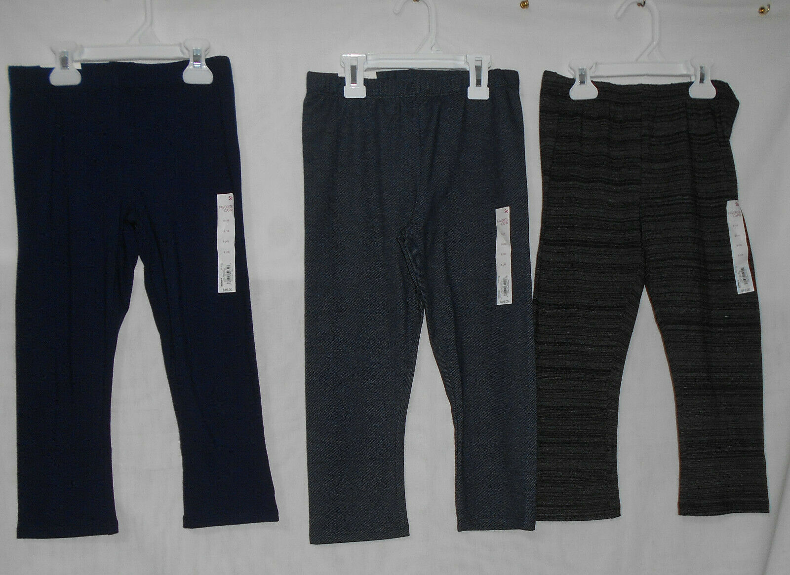 Primary image for SO Capri Pants Girls Size 10 Navy Blue Black Denim Capri Leggings New Lot of 3