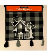 Black Plaid Haunted House Witch 13 x 36 Table Runner with Tassels - $18.80