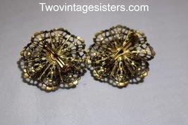 Vintage Pair Brass Filigree Brooch & Cabochon Stones - $39.99