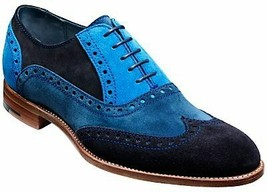 Men s handmade black and blue suede leather shoes wingtip dress leather shoes thumb200