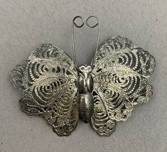 Silver Tone Filigree Butterfly Brooch Pin Distressed Vintage - $12.58