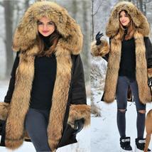 Women's Luxury Long Faux Fur Parka Thicken Warm Hooded Coat