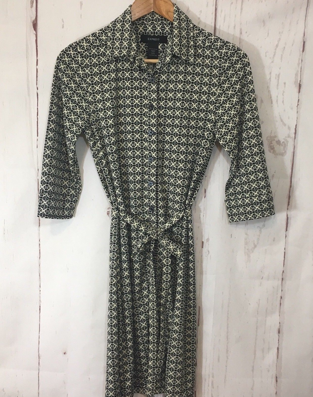 Express Dress Button Down Sz 5/6 3/4 Collared Belted 3/4 Sleeve Career image 3