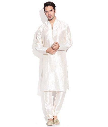 Primary image for Royal Kurta Men's Silk Blendhineck Emboirde Kurta Churidar 38 Beige