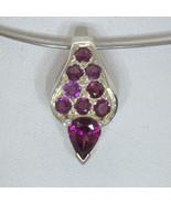 Pendant Raspberry Purple Red Rhodolite Garnet Handmade Silver Ladies Des... - $85.50