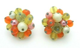 Japan Pink Orange Yellow Glass Bead Beaded Clip-On Earrings Vintage Gold Tone - $19.79