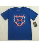Under Armour Boys Size 7 Navy/Blue/Orange/White BASEBALL Shirt - $18.00