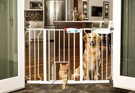 Walk Through Gate Baby Dog Pet Door Extra-Wide Adjustable Safety Barrier... - $44.54