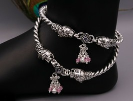 AUTHENTIC SOLID SILVER HANDMADE FOOT BANGLE KADA ANKLE BRACELET JEWELRY ... - $247.49